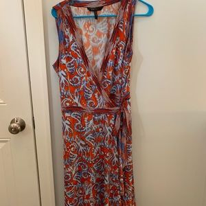 BCBG MaxAzria • Red/Blue Print Wrap Dress • NWOT